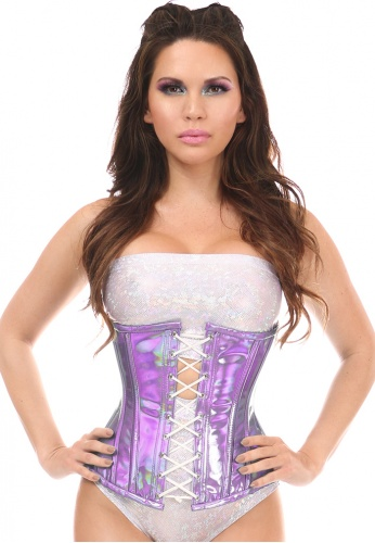 Lavender Holo Steel Boned Under Bust Corset