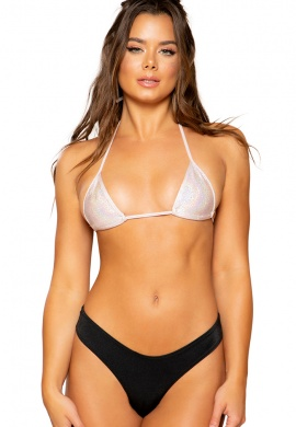 Metallic Baby Pink Triangle Bikini Tie Top