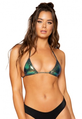 Iridescent Blue Triangle Bikini Tie Top