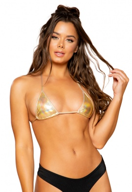 Metallic Gold Foil Triangle Bikini Top