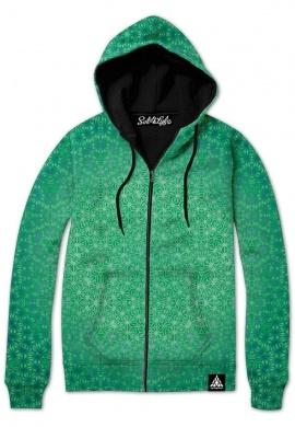 Green Cosmic Stargrid Zip-up Hoodie