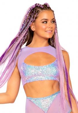 Lavender Sequin Keyhole Top