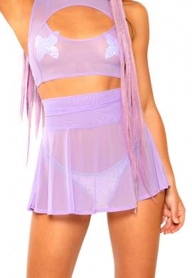 Lavender Mesh Skater Skirt