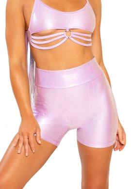 Lavender Python Biker Shorts