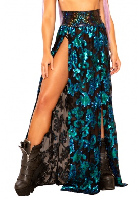 Blue Green Sequin Gypsy Skirt