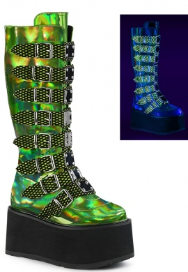 Green Holographic Damned-318 Boots