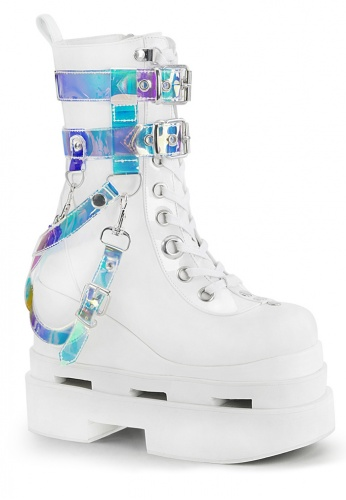 Demonia White Eternal 115 Holographic Boots