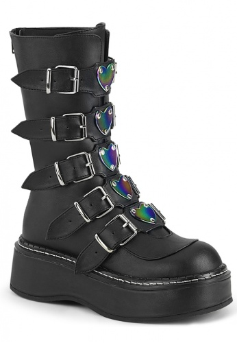 Black Emily-330 Combat Boots with Holographic Heart Buckles
