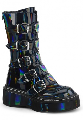 Black Hologram Emily-330 Combat Boots with Holographic Heart Buckles
