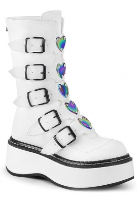 White Emily-330 Combat Boots with Holographic Heart Buckles