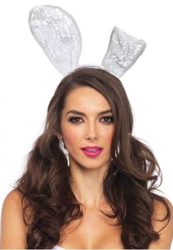 White Lace Bunny Ear Headband