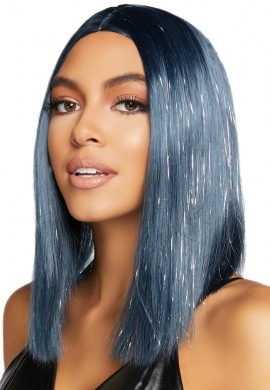 "Midnight Blue and Tinsel 15"" Bob Wig"