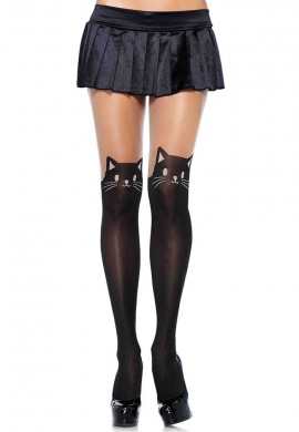 Black Cat Spandex Pantyhose