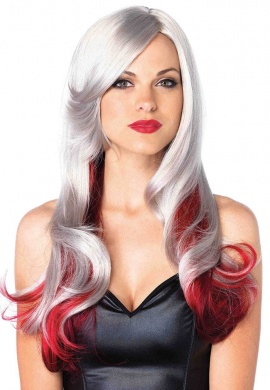 Grey and Red Allure Wig