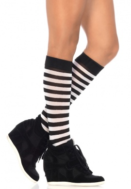 Black and White Striped Knee Highs