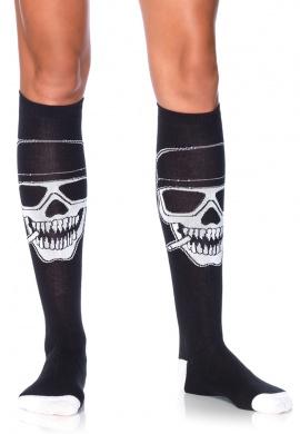 Biker Skeleton Knee Highs