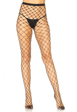 Faux-Pearl Fence Net Tights