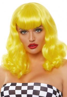 Yellow Retro Bang Curly Bob Wig