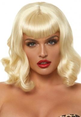 Blond Retro Bang Curly Bob Wig