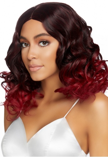 Burgundy Curly Ombre Wig
