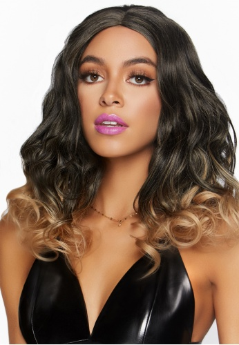 Black and Blond Curly Ombre Wig