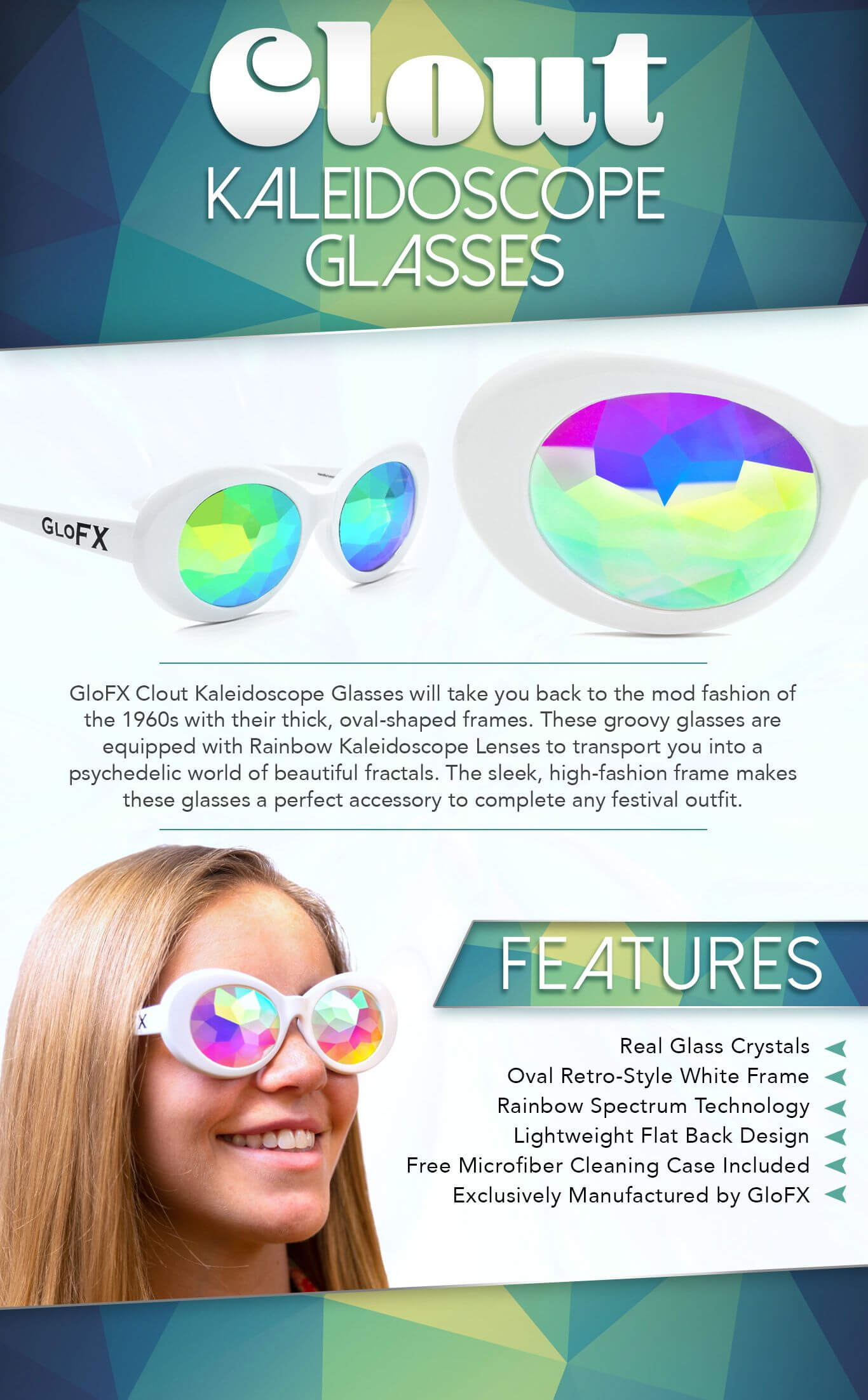 Clout Vintage Kaleidoscope Glasses