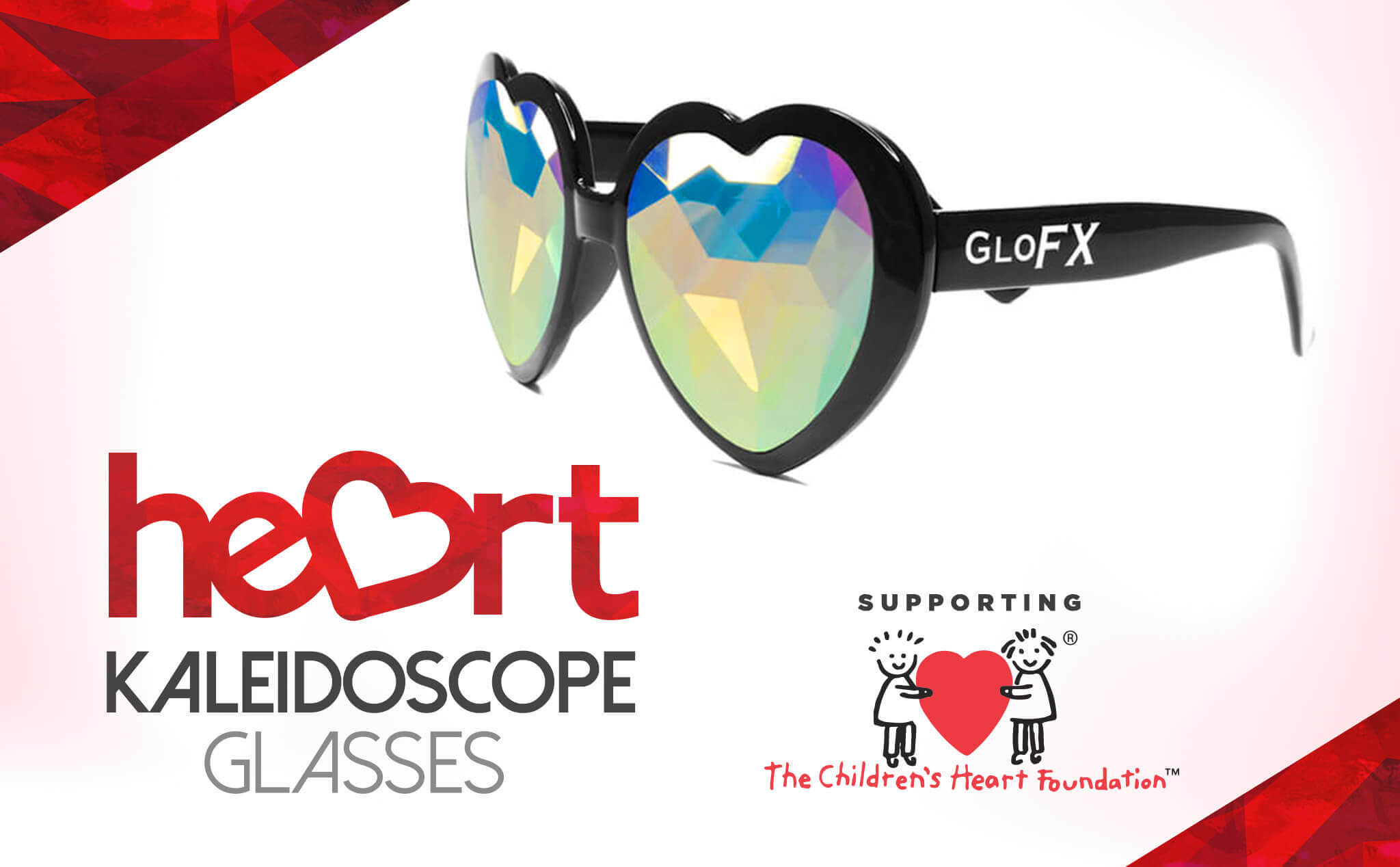 Red frame heart kaleidoscope glasses
