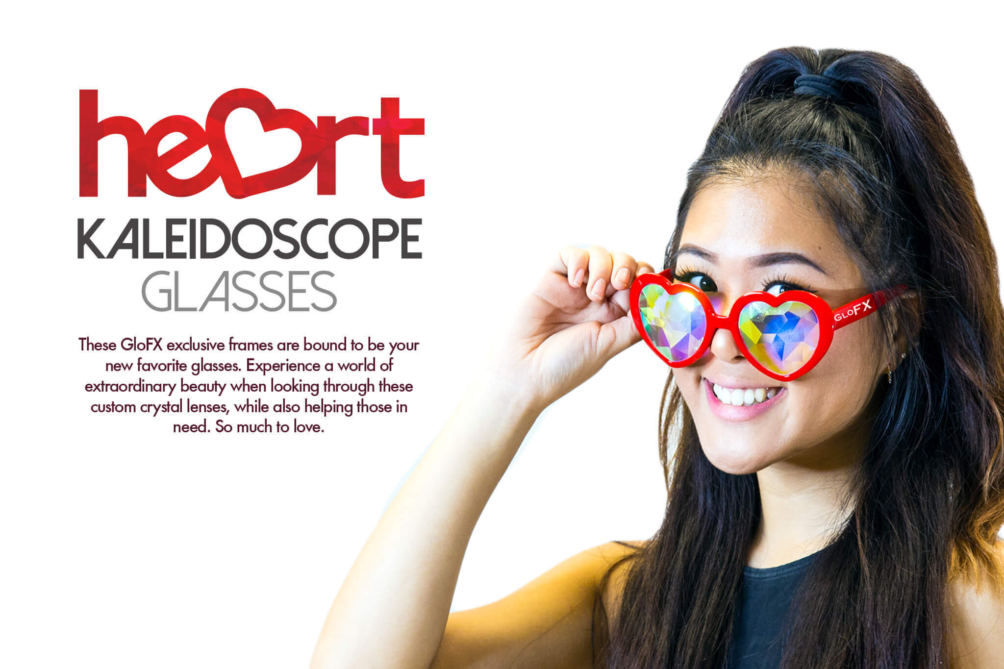 red heart kaleidoscope glasses