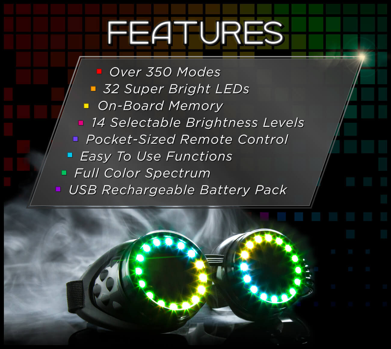 LED Goggles Featuring Modes and a Controller