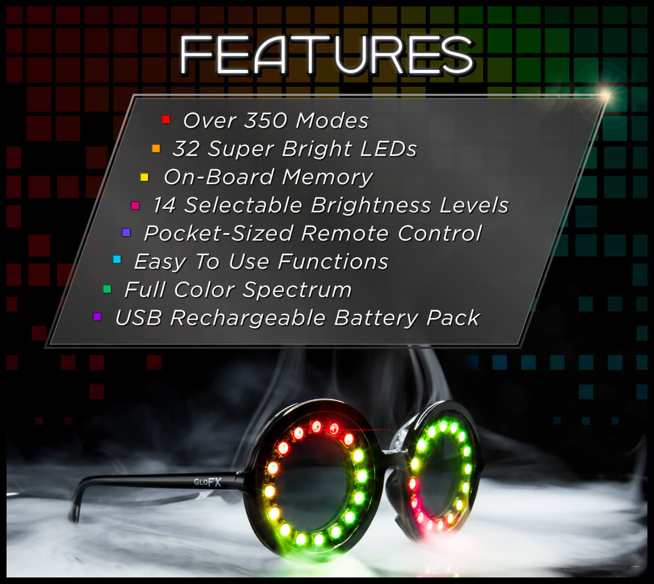 Light up glasses with over 350 modes and brightnesses