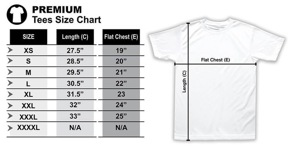 Hooded Tshirt Size Chart