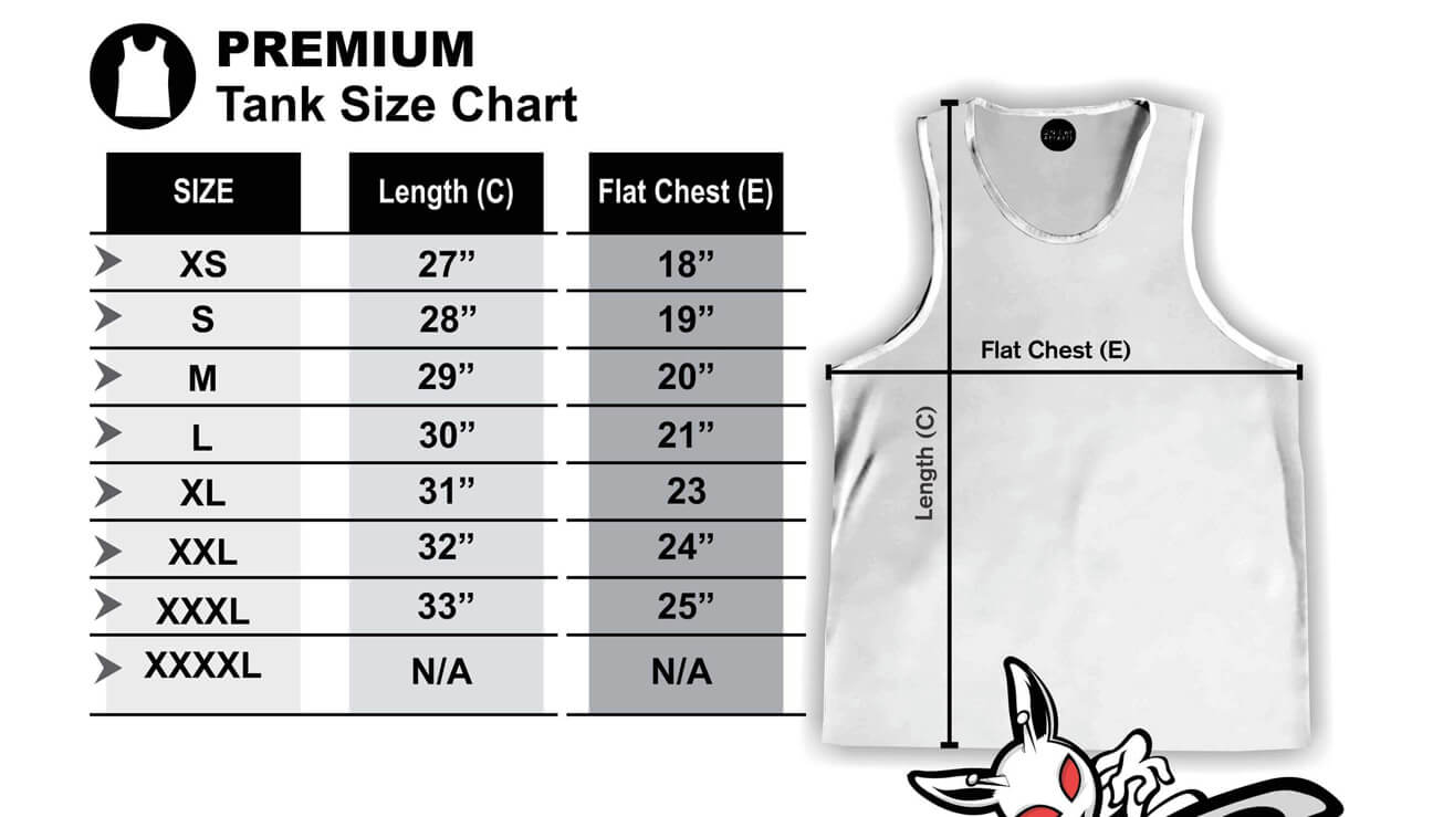 On Cue Apparel Tank Size Chart